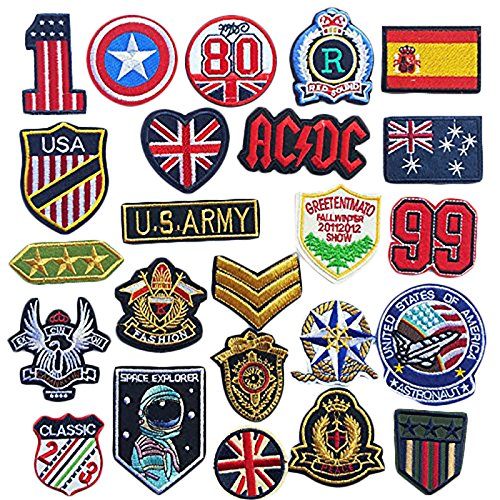 Dandan DIY 24pcs Assorted Styles Badge Flag Embroidered Patch Sew On/Iron On Patch Applique Clothes Dress Plant Hat Jeans Sewing Flowers Applique Diy Accessory (Assorted-Style 2)