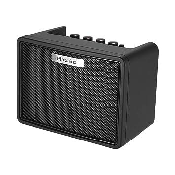 Muslady Amplificador de Guitarra Portátil de Escritorio 3W Guitarra Eléctrica Mini Modelado Amp con 2 canales