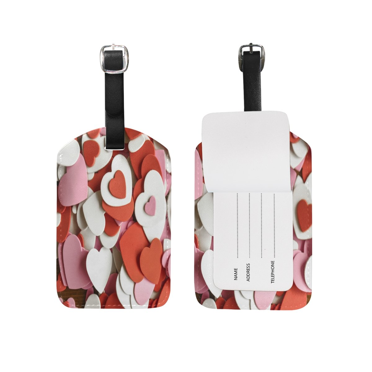 1Pcs Saobao Travel Luggage Tag Multiple Love Splice PU Leather Baggage Suitcase Travel ID Bag Tag