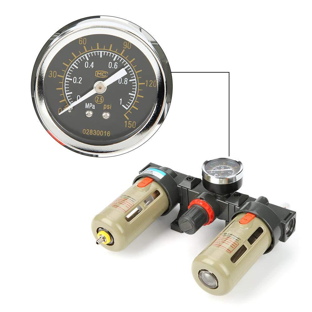 Filter Pressure Regulator G1//2 Air Source Gas Treatment Unit Filter Pressure Regulator with Gauge for Industrial Components