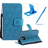 Blue Leather Case for Samsung Galaxy S7,Strap Wallet Case for Samsung Galaxy S7,Herzzer Bookstyle Classic Elegant Pretty Flower Design Magnetic Stand Flip Leather Case with Soft TPU