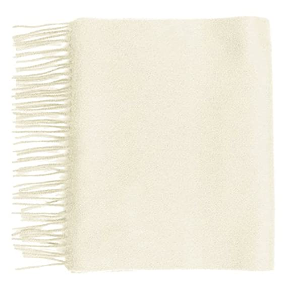 Plain Colour White Lona Scott Pure Cashmere Scarf