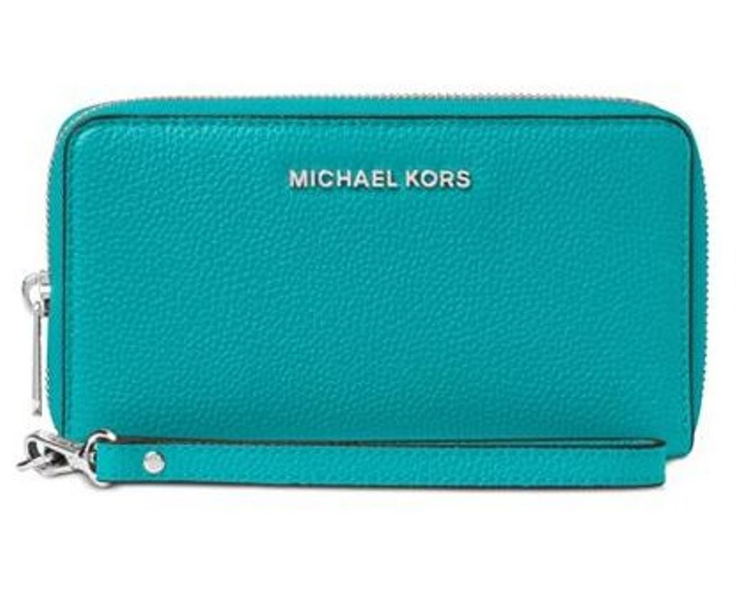 Michael Michael Kors Mercer Large Flat Multi Function Phone Case ‑ Tile Blue
