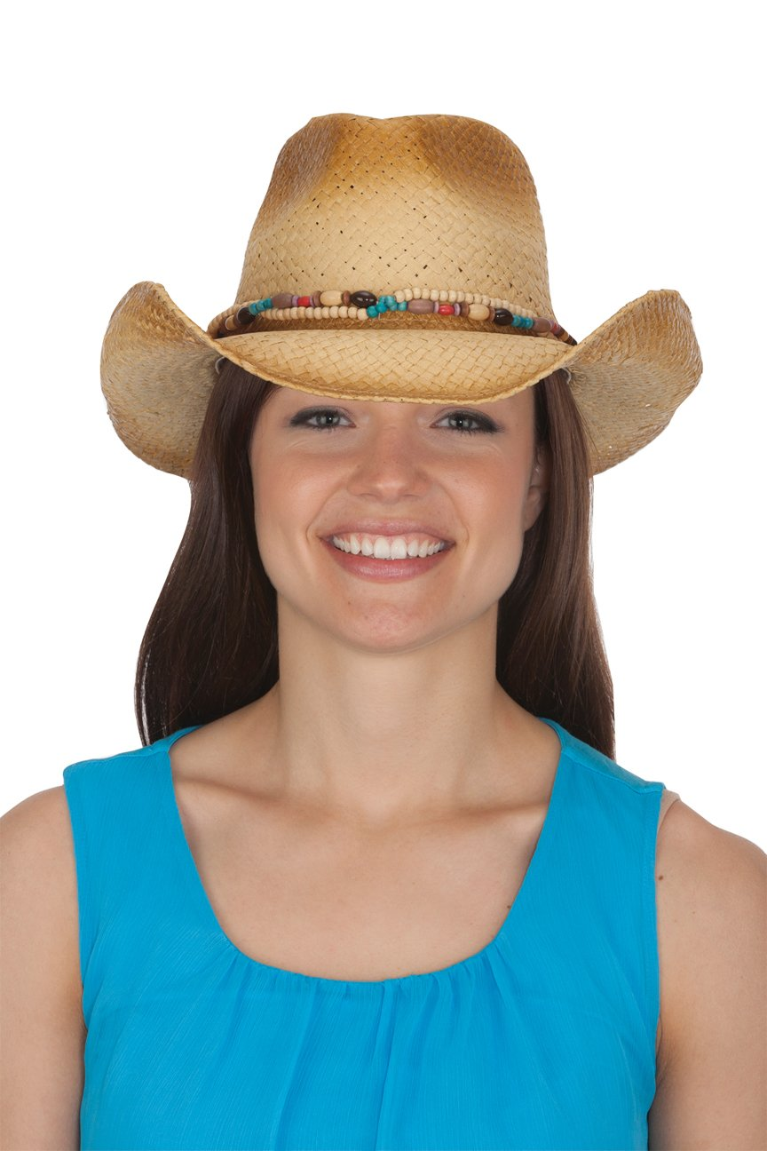 Jacobson Straw Cowboy Hat - Tea Stained Western Hat with Wood Bead Band