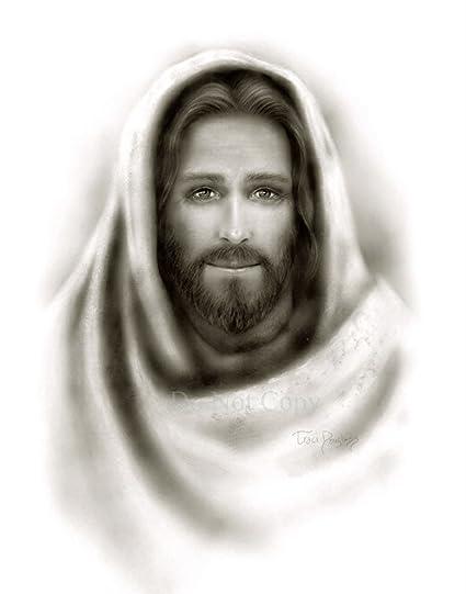 2639d12a28a Amazon.com  Picture of Jesus Christ black   white portrait print