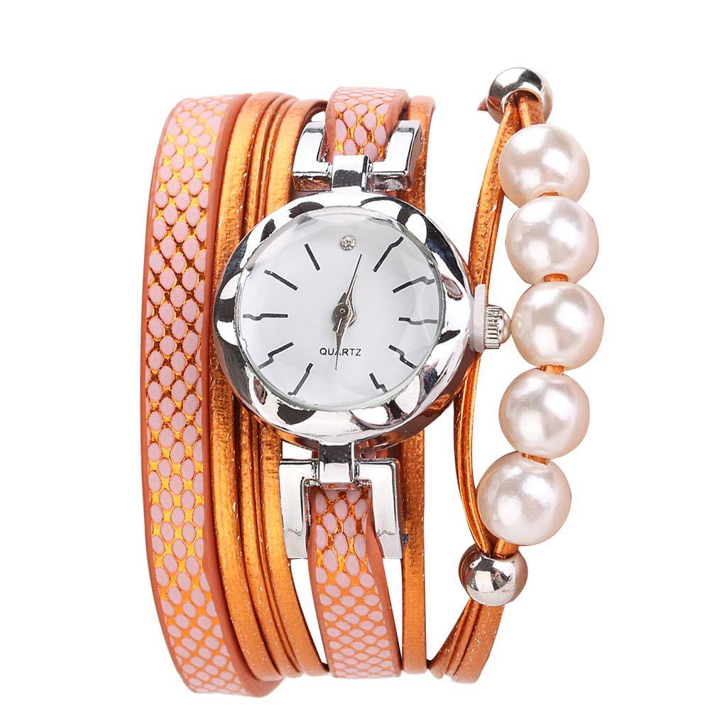 Women Quartz Watch,Lovewe CCQ Women Fashion Casual Analog Quartz Women Rhinestone Pearl Bracelet Watch (A)