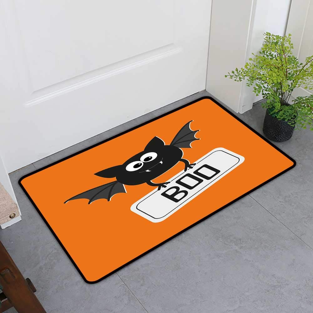 TableCovers&Home Door Mat Extra Large, Halloween Custom Imdoor Rugs for Living Room, Cute Funny Bat with Plate Boo Fangs Scare Frighten Seasonal Cartoon Print (Orange Black White, H36 x W60)
