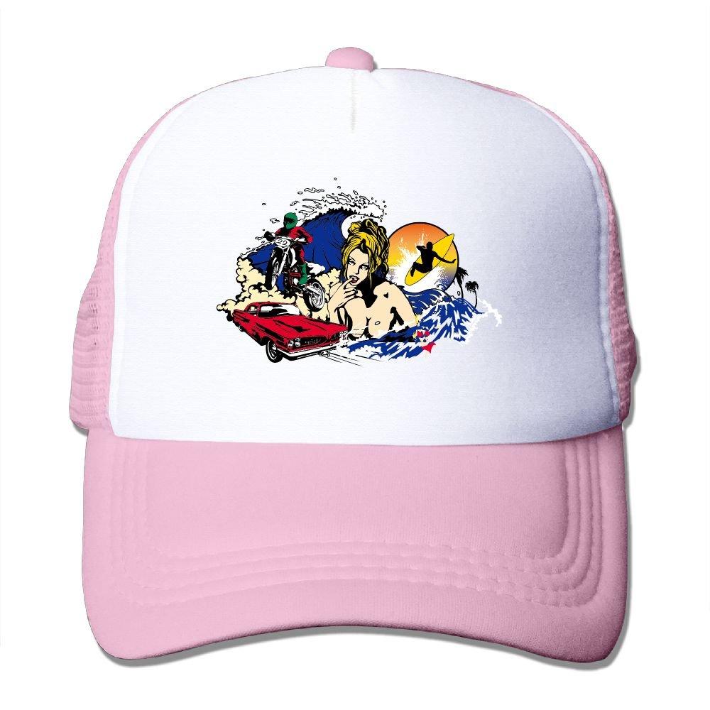 Teesofun Mesh Baseball Caps Summer Ocean Surfing Art Unisex Adjustable Sports Trucker Cap