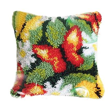 DIY Cushion Carpet Mat Latch Hook Rug Kits Cover Hand Craft Embroidery Pillowcase Crocheting Handmade Baby,Kits Weeding and Parents Gift