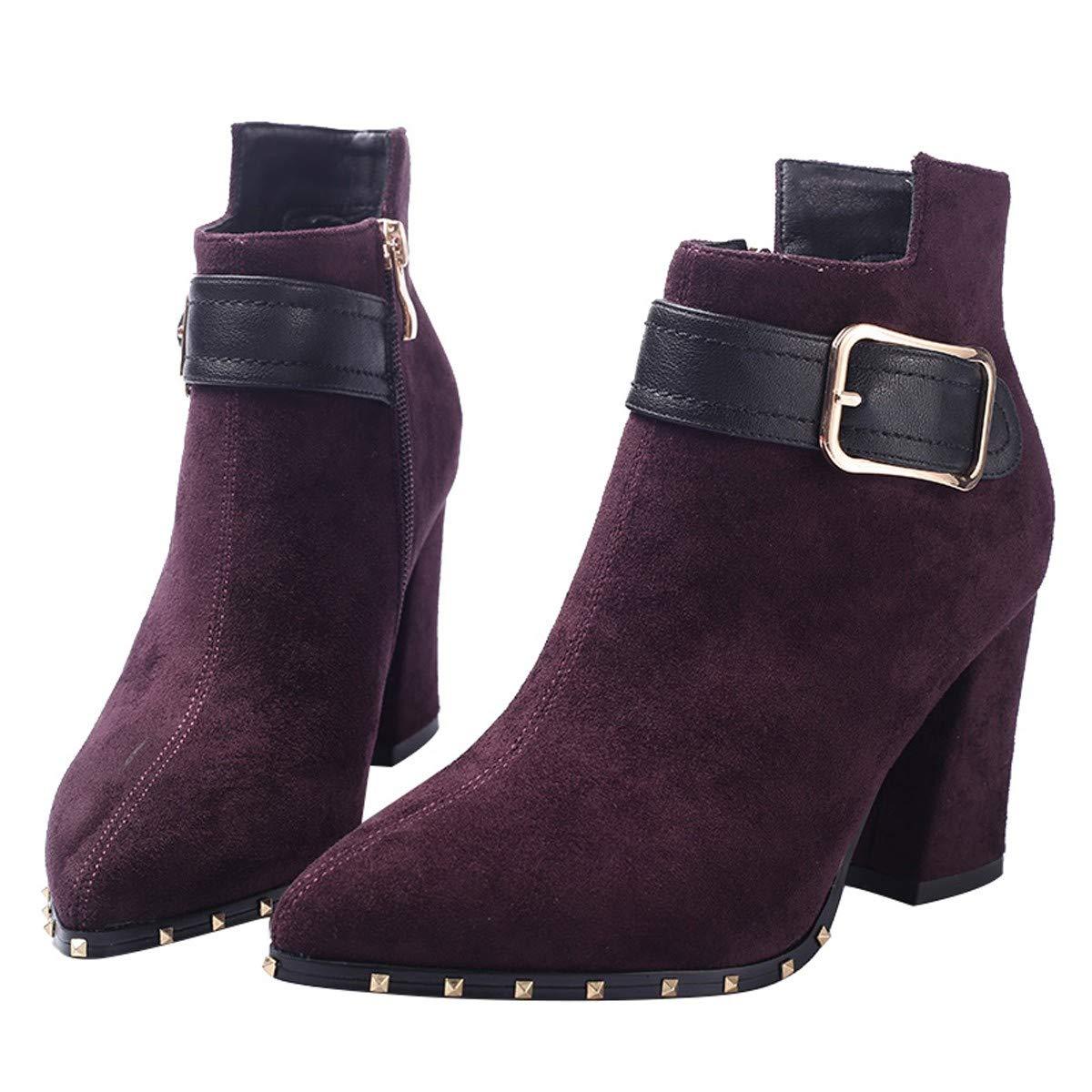 HBDLH Damenschuhe Schuhe Herbst Und Winter England Gürtel Dicke Sohle Einfache Wildleder Spitze 18Cm Hohe Absätze Retro - Stiefel