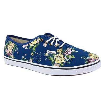 Vans Floral Authentic Lo Pro VQES65N Womens Canvas Laced Trainers Blue  White - 3 c9c41e9951e6