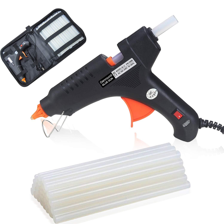 Genround Glue Gun, 100w Hot Glue Gun with Glue Gun Sticks 30Pcs and Carry  Case, Glue Gun Full Site Hot Glue for Gun Industrial Hot Glue Gun for DIY