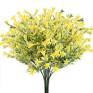 GTIDEA 4pcs Artificial Lilies Flowers Plastic Greenery Plants Fake Floral Bushes Yellow Faux Shrubs for Inside Outdoor Wedding Bouquet Home Office Garden Table Centerpiece Patio Yard Decor 78
