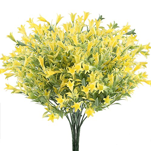 Easter Lily Vine - GTIDEA 4pcs Artificial Lilies Flowers Plastic Greenery Plants Fake floral Bushes Yellow Faux Shrubs for Inside Outdoor Wedding Bouquet Home Office Garden Table Centerpiece Patio Yard Decor