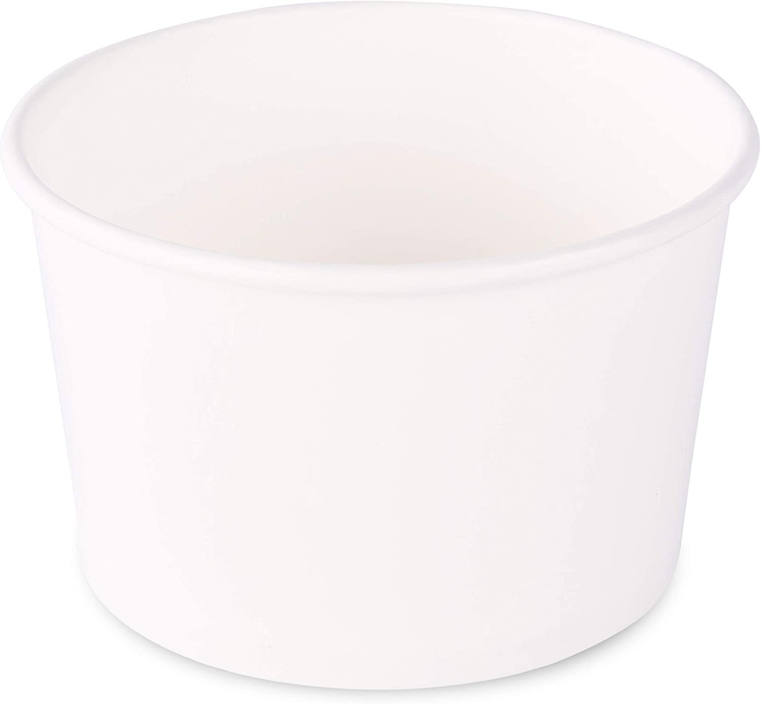 Paper Ice Cream Cups - 100-Count - 8 oz Disposable Dessert Bowls for Hot or Cold Food, 8-Ounce Party Supplies Treat Cups for Sundae, Frozen Yogurt, Soup, White