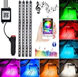 Car Underglow Light, 72 LED Glow Under Car Lights Strip Sound Actived Underglow Lighting Kit Function Running RGB Colors Strips App Control Auto Atmosphere Lights