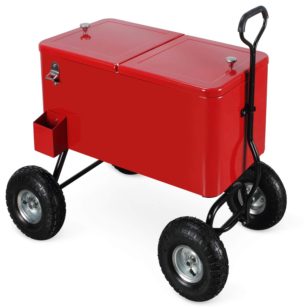 Belleze Outdoor 80 Qt Rolling Beverages Ice Chest Beach Party Patio Backyard Wagon w/ 10' Terrain Wheels, Red