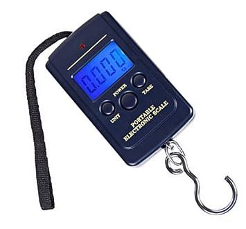 daorier Báscula portátil Báscula de viaje electrónica digital LCD portátil - Báscula Cocina 40 kg Báscula portátil pescado Báscula para maleta equipaje ...