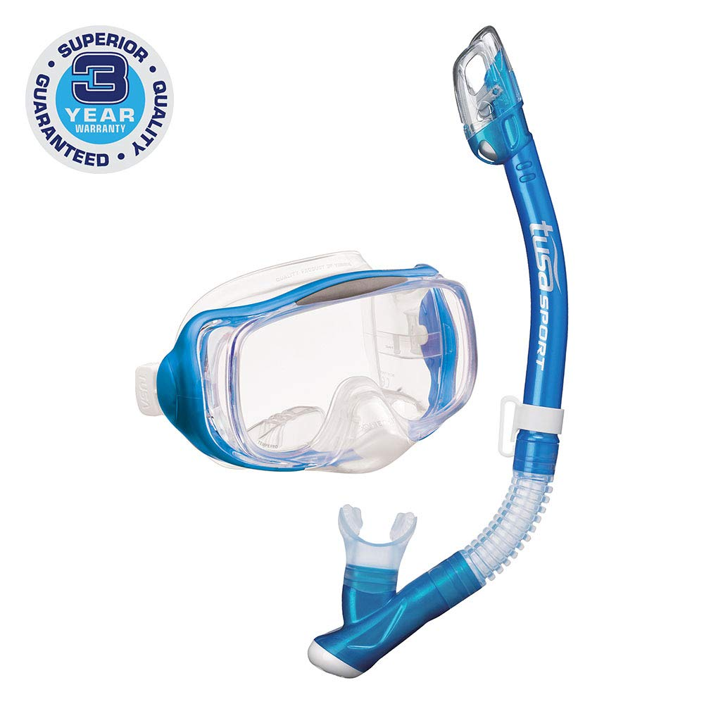 TUSA Sport Adult Imprex 3D Purge Mask and Dry Snorkel Combo, Fishtail Blue by TUSA Sport