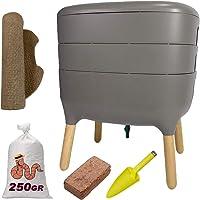 WormBox Urbalive Gris, Kit Completo I Diseño de vermicompostador I 250g de Lombriz / 500 und. I Sustrato de iniciación I…
