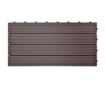 Einzelfliese 30x30 cm, Dunkelbraun SIENOC Terrassen-Fliese aus WPC Kunststoff Garten-Fliese,Balkon Bodenbelag mit Drainage Unterkonstruktion