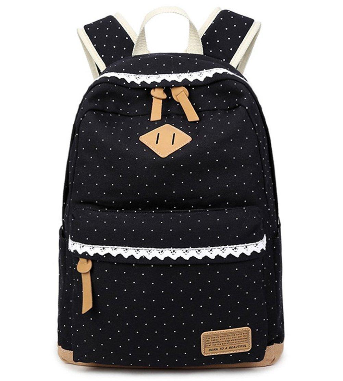 Mädchen Schulrucksack, Fashion Damen Canvas Rucksack Polka Punkt süße Spitze Kinderrucksack Outdoor Freizeit Daypacks Schultaschen für Teenager 16.5x13x5.5 Zoll (schwarz) Mädchen Schulrucksack