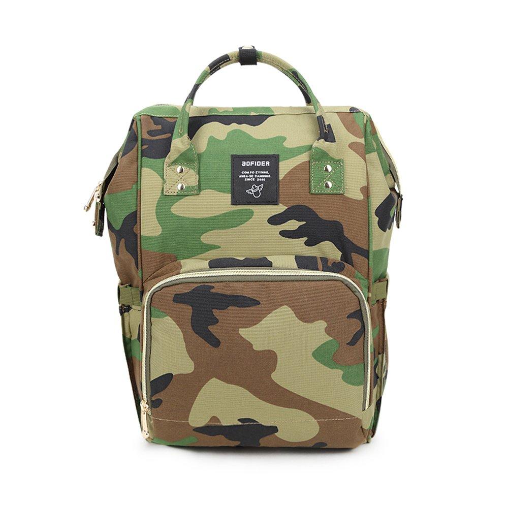 e538bdd903 Amazon.com   Gizwise Diaper Bag for Women Men Insulated Toddler Camo Travel  Backpack Green with Stroller Hook   Baby