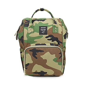 af4b7cc0b4ed Amazon.com   Gizwise Diaper Bag for Women Men Insulated Toddler Camo Travel  Backpack Green with Stroller Hook   Baby