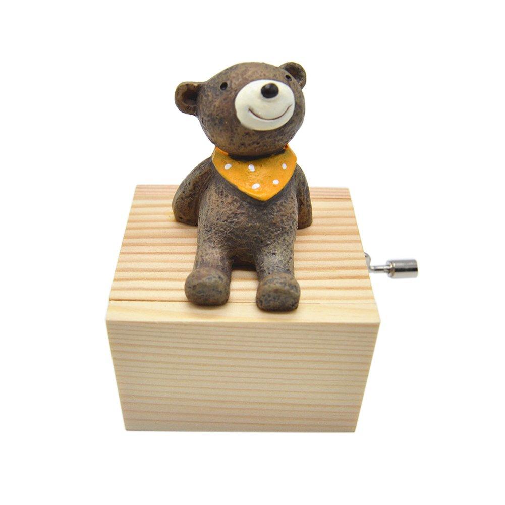 Anlydia Mini Wooden Animal Hand Cranked Music Box Cute Ornament (Bear)