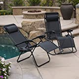 Belleze Zero Gravity Chairs Black Lounge Patio Chairs Outdoor w/ Cup Holder, Utility Tray (Set of 2)