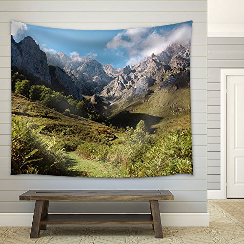 Mountain Valley with Trees and Grass Fabric Wall