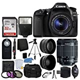 Canon EOS 80D DSLR Camera Body + Canon EF-S 18-55mm f/3.5-5.6 IS STM + 58mm 2x Lens + Wide Angle Lens + 32GB Memory Card + UV Filter Kit + Flash + RC-6 Remote + Quality Tripod - Great Value Bundle