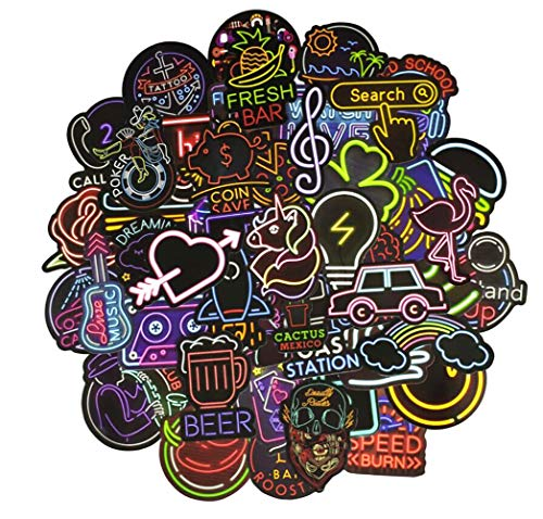 Neon Laptop Sticker Car Motorcycle Bicycle Skateboard Water Bottle Luggage Travel Case Phone Graffiti Decals Bumper DIV Decoration Stickers for Kids Girls Teens Youths Adult 50 PCS (Decal Div)