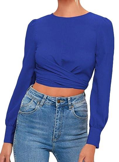 96743d1dfa8650 Jmwss QD Women Sexy Tie Knot Backless Solid T-Shirt Slim Fit Blouse Tops  Blue