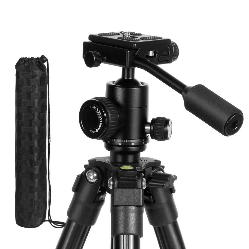 Abithid Camera Tripod, Portable Lightweight Compact Travel Dslr Tripod With 360 Ball Head, 1/4 Plate,Two Gradienter And Bag For Canon,Nikon,Sony,Samsung,Olympus Camera
