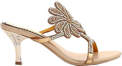 CFP Womens Comfort Wedding Bride Bridesmaid Party Job Fashion Slip on Mid  Heel Gold Sandals UK