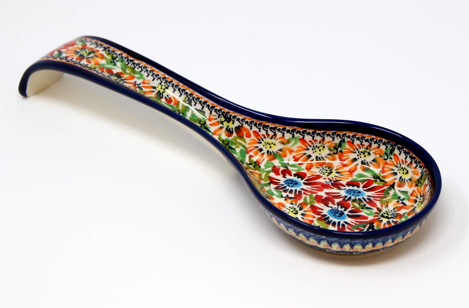 Polish Pottery Spoon Rest From Zaklady Ceramiczne Boleslawiec #1178-312 Art Unikat Signature Pattern, 12 Inch Long by Polish Pottery Market