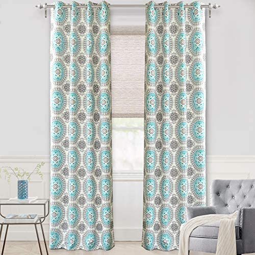 DriftAway Bella Medallion and Floral Pattern Room Darkening and Thermal Insulated Grommet Window Curtains 2 Panels Each 52 Inch
