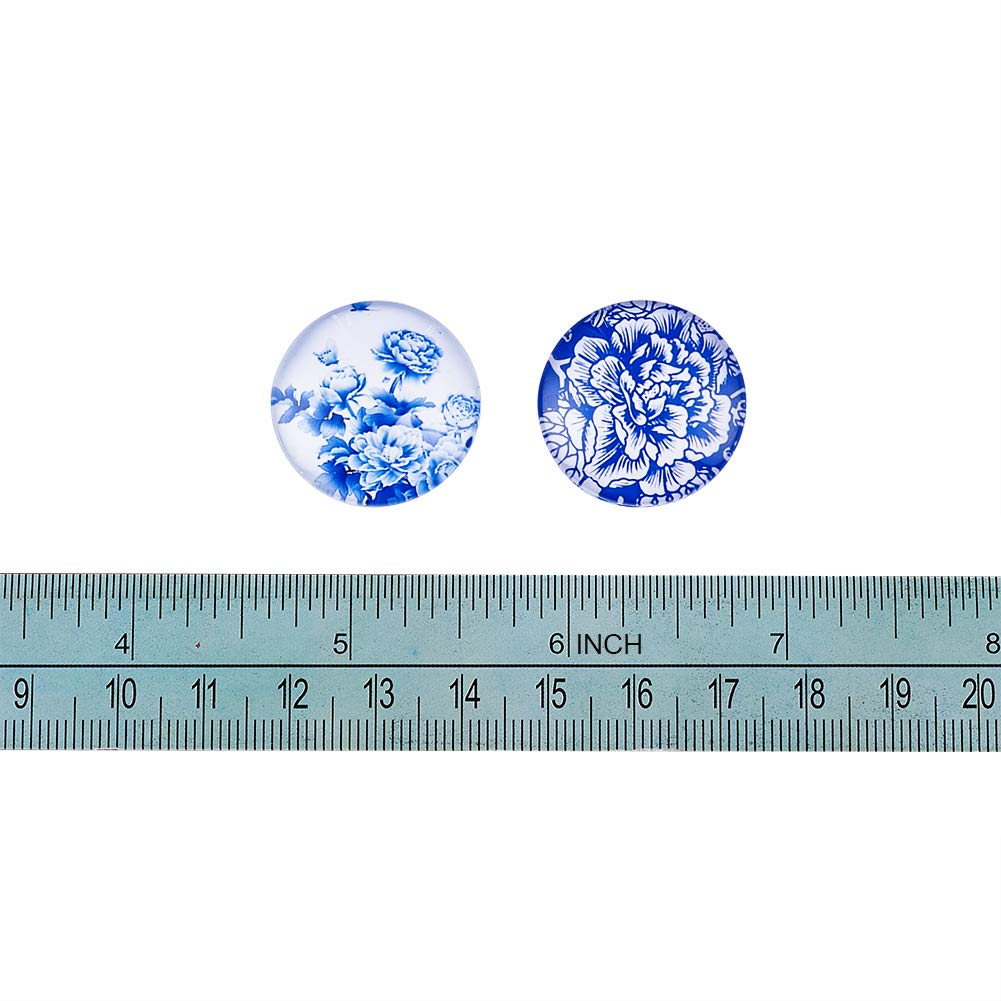 Craftdady 50Pcs Transparent Glass Cabochons 39.5-40mm Clear Glass Flat Back Dome Tile Half Round Cabochon Covers for Photo Pendant Jewelry Making