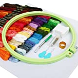 Embroidery Starter Kit SOLEDI Full Range of Cross Stitch Kit 50 Color Threads, 4pcs ABS Embroidery Hoops, 14 CT Aida Cloth 11 CT Cloth with Pattern and Other Tools Embroidery Kit for Beginners