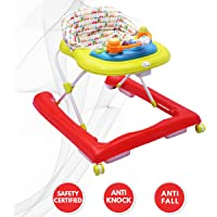 R for Rabbit Zig Zag Baby Walker - The Anti Fall Safe Baby Walkers with Adjustable Height and Musical Toy Bar (Red Green)