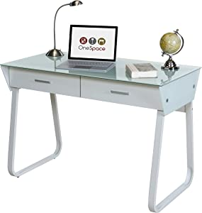 OneSpace Ultramodern Glass Computer Desk with Drawers, White