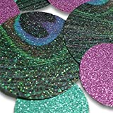 "Custom & Fancy {Assorted Sizes 1'' - 1.5'' Inch} Approx 100 Pieces of Large Round Circle ""Table"" Party Confetti Made of Premium Card Stock w/ Fun Peacock & Glitter Dot Design [Blue, Purple & Green]"