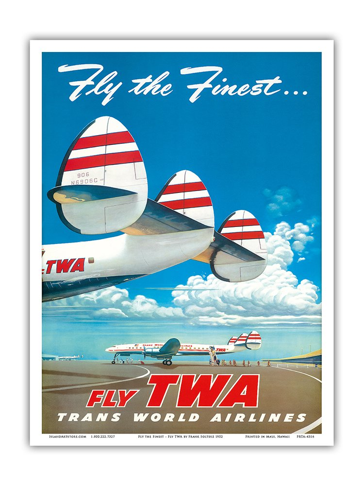 KANSAS CITY TWA Constellation Airliner Retro Plane Travel Poster Art Print 095
