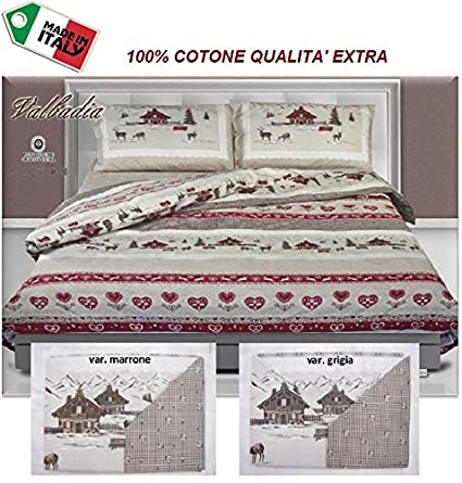 ac25700e76 R.P. Dolce Notte - Trapuntino Estivo Letto Matrimoniale 2 Piazze Copriletto  Valbadia Tirolese Cervi e Casette - Made in Italy: Amazon.it: Casa e cucina