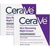 CeraVe Night Cream for Face | 2 Pack (1.7 Ounce Each) | Skin Renewing Night Cream with Hyaluronic Acid & Niacinamide…