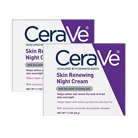 CeraVe Night Cream for Face 2 Pack 1.7 Ounce Each Skin Renewing Night Cream with Hyaluronic Acid Niacinamide Fragrance Free