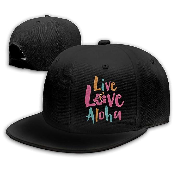 ba1951aa0 Unisex 100% Polyester Live Love Aloha Mesh Back Trucker Hat Black at ...