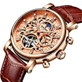 Luxury Automatic Mechanical Tourbillon Skeleton Date Moon Phase Genuine Leather Waterproof Men Watches