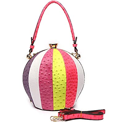 Round Sphere Satchel Bag Ostrich Print Beach Ball Color Block Handbag Purse  with Cross Body Strap (Fuchsia)  Handbags  Amazon.com
